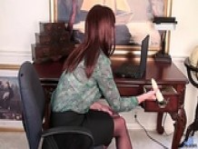 Curvy office cougar vibrator orgasm