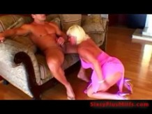 Sexy blonde granny blowing muscle dick