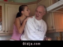 Overaged old man licked and sucked by young slut