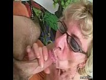 Hairy granny loves young dick