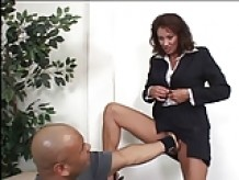 Gorgeous mature MILF fingers her wet box in an office then gets fucked