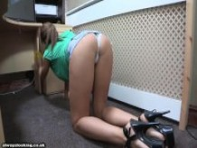 sexy brunette talia didn't notice her denim skirt is too short! upskirt!1