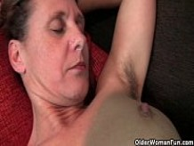 Granny Inge gets fingered up her full bushed pussy