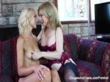 Horny MILF plays with cute young blonde