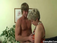 Old woman pleases hot younger stud