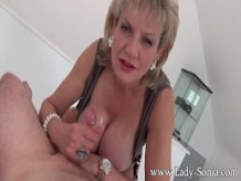 Lady Sonia with first timer Massage table Handjob