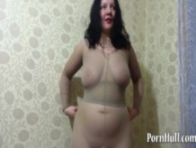 mature milf, pissing in the pelvis and shows her big ass